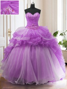 Purple Lace Up Quinceanera Gowns Beading and Ruffled Layers Sleeveless Sweep Train