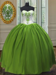 Sweetheart Sleeveless Lace Up Ball Gown Prom Dress Olive Green Taffeta