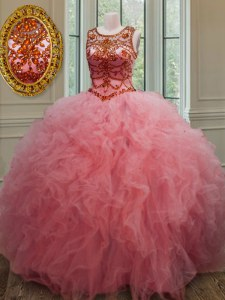 Pink Ball Gowns Tulle Scoop Sleeveless Beading and Ruffles Floor Length Lace Up Quinceanera Dresses