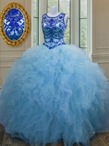 Tulle Scoop Sleeveless Lace Up Beading and Ruffles Vestidos de Quinceanera in Baby Blue