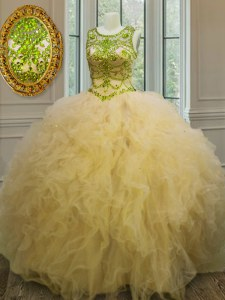 Scoop Light Yellow Sleeveless Beading and Ruffles Floor Length Quinceanera Dress