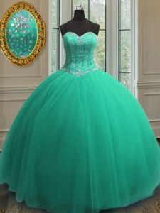 Turquoise Sweetheart Neckline Beading and Sequins Vestidos de Quinceanera Sleeveless Lace Up