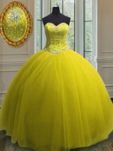 Yellow Lace Up Sweetheart Beading and Sequins Ball Gown Prom Dress Tulle Sleeveless