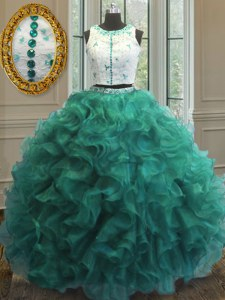 Perfect Turquoise Clasp Handle Scoop Appliques and Ruffles Quinceanera Gowns Organza Sleeveless