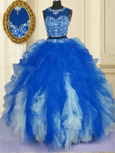 Deluxe Blue And White Zipper Scoop Beading and Ruffles Sweet 16 Dresses Tulle Sleeveless