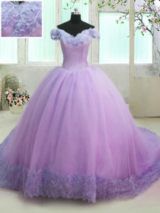 Fashion Off the Shoulder Organza Short Sleeves With Train Quinceanera Gown Court Train and Hand Made Flower