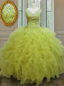 Sleeveless Organza Floor Length Zipper Quinceanera Gowns in Yellow Green with Beading and Ruffles