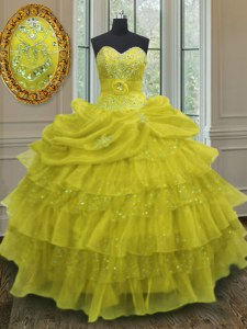 Charming Floor Length Lace Up Quinceanera Dress Yellow for Military Ball and Sweet 16 and Quinceanera with Beading and Ruffled Layers and Pick Ups