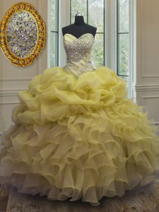 Modest Floor Length Yellow Quince Ball Gowns Organza Sleeveless Beading and Ruffles and Pick Ups