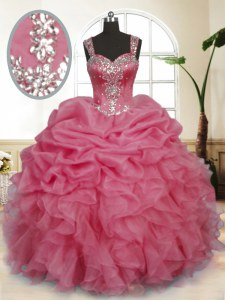 Pink Organza Zipper Sweet 16 Quinceanera Dress Sleeveless Floor Length Beading and Ruffles and Pick Ups