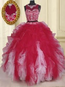 Low Price Two Pieces Quinceanera Dress White And Red Scoop Tulle Sleeveless Floor Length Zipper