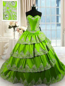 Charming Ruffled With Train Green Quinceanera Dresses Sweetheart Sleeveless Court Train Lace Up