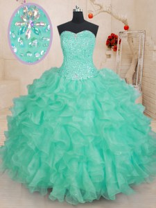 Customized Sleeveless Beading and Ruffles Lace Up 15th Birthday Dress