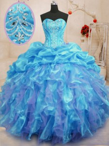 Clearance Aqua Blue Ball Gowns Sweetheart Sleeveless Organza Floor Length Lace Up Beading and Ruffles Quinceanera Gowns