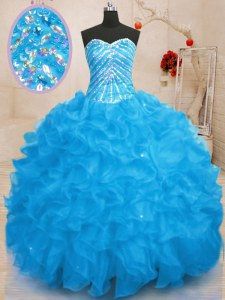 Sequins Sweetheart Sleeveless Lace Up Quinceanera Dress Baby Blue Organza