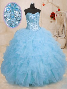 Chic Ball Gowns Sweet 16 Dress Baby Blue Sweetheart Organza Sleeveless Floor Length Lace Up