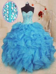 Artistic Sleeveless Lace Up Floor Length Beading and Ruffles Vestidos de Quinceanera