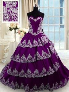 Purple Taffeta Lace Up Sweet 16 Quinceanera Dress Sleeveless With Train Court Train Beading and Appliques and Ruffled Layers