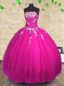 Floor Length Ball Gowns Sleeveless Fuchsia Quinceanera Dresses Lace Up