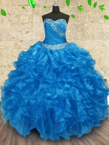 Gorgeous Organza Sweetheart Sleeveless Lace Up Beading and Ruching Quinceanera Dresses in Baby Blue