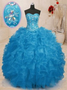 Designer Sleeveless Lace Up Floor Length Beading and Ruffles Sweet 16 Quinceanera Dress