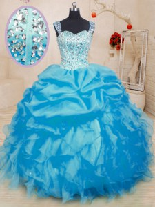 Baby Blue Organza Lace Up Straps Sleeveless Floor Length Sweet 16 Quinceanera Dress Beading and Ruffles and Pick Ups