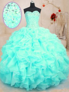 Inexpensive Sleeveless Floor Length Beading and Ruffles Lace Up Quinceanera Dress with Aqua Blue