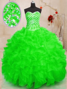 Sequins Sweetheart Sleeveless Lace Up Ball Gown Prom Dress Organza