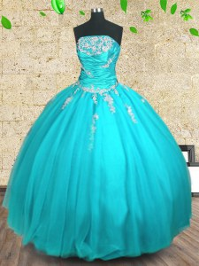 Floor Length Ball Gowns Sleeveless Aqua Blue Sweet 16 Dresses Lace Up