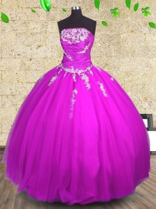Lovely Floor Length Ball Gowns Sleeveless Fuchsia Quince Ball Gowns Lace Up