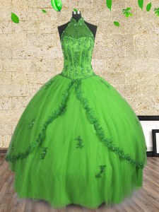 Delicate Halter Top Neckline Beading Ball Gown Prom Dress Sleeveless Lace Up