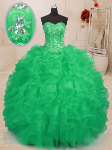 Sweetheart Sleeveless Ball Gown Prom Dress Floor Length Beading and Ruffles Teal and Green Organza