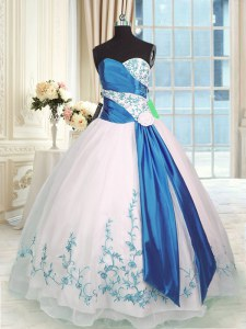 Sexy Blue And White Sweet 16 Dresses Military Ball and Sweet 16 and Quinceanera and For with Embroidery and Sashes ribbons Sweetheart Sleeveless Lace Up