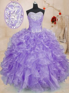 New Style Lavender Ball Gowns Sweetheart Sleeveless Organza Floor Length Lace Up Beading and Ruffles Sweet 16 Dress