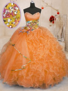 Beading and Ruffles Sweet 16 Dresses Orange Lace Up Sleeveless Floor Length