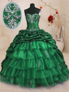 Beading and Appliques and Ruffled Layers and Pick Ups Sweet 16 Dress Dark Green Lace Up Sleeveless With Train Sweep Train
