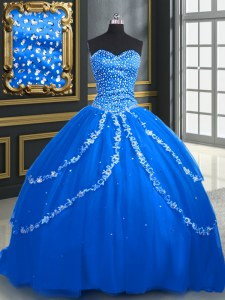 Sweetheart Sleeveless Brush Train Lace Up Quinceanera Dresses Blue Tulle