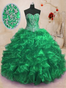 High End Sweetheart Sleeveless Sweep Train Lace Up Quince Ball Gowns Green Organza