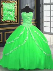 Glorious Sleeveless With Train Beading and Appliques Lace Up Sweet 16 Quinceanera Dress