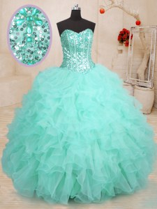 Affordable Apple Green Organza Lace Up 15 Quinceanera Dress Sleeveless Floor Length Beading and Ruffles