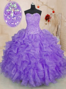 Colorful Ball Gowns Quinceanera Gowns Lavender Sweetheart Organza Sleeveless Floor Length Lace Up