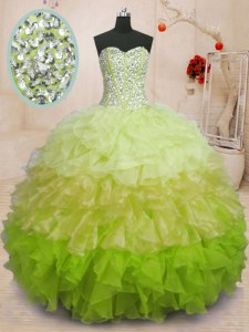 Glamorous Multi-color Ball Gowns Organza Sweetheart Sleeveless Beading and Ruffles Floor Length Lace Up Quinceanera Dresses
