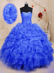 Sleeveless Organza Floor Length Lace Up Sweet 16 Dresses in Blue with Beading and Ruffles and Hand Made Flower