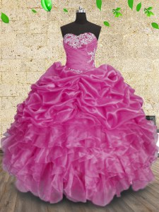 Simple Fuchsia Sweetheart Lace Up Beading and Appliques and Ruffles and Ruching Quinceanera Dresses Sleeveless