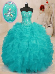 Aqua Blue Ball Gowns Sweetheart Sleeveless Organza Floor Length Lace Up Beading and Ruffles Sweet 16 Quinceanera Dress