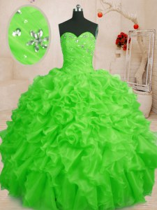 Sweetheart Sleeveless Lace Up Quinceanera Dresses Organza