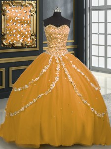 Low Price Gold Sleeveless Brush Train Beading and Appliques With Train Sweet 16 Dresses