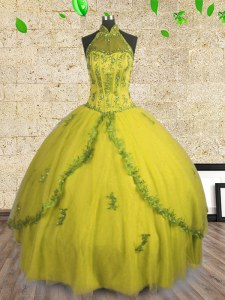 Latest Halter Top Sleeveless Lace Up 15 Quinceanera Dress Yellow Tulle