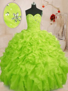 Custom Made Floor Length Yellow Green Sweet 16 Dress Sweetheart Sleeveless Lace Up