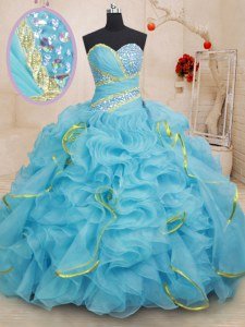 Sleeveless Organza With Brush Train Lace Up Ball Gown Prom Dress in Baby Blue with Beading and Ruffles